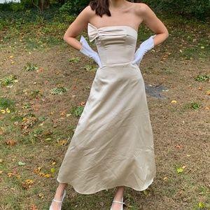 Vintage Champagne Satin Strapless Evening Dress